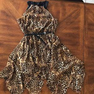 Leopard mid dress with belt